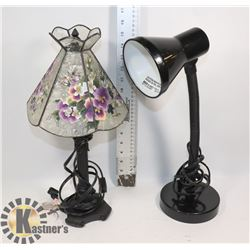 2 LAMPS - 1 FLOWER PATTERN AND 1 DESK LAMP