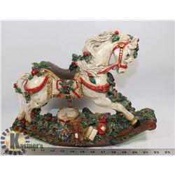 DECORATIVE ROCKING CHRISTMAS HORSE FIGURE.
