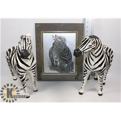 "LOT OF 2, 14"" DÉCOR ZEBRAS WITH LEATHER EARS"