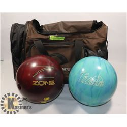 LOT OF 2 BOWLING BALLS WITH BAG