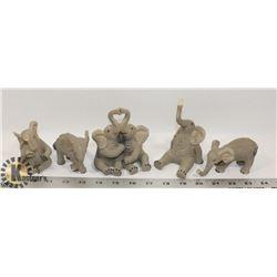 FLAT OF 5  ELEPHANT FIGURES