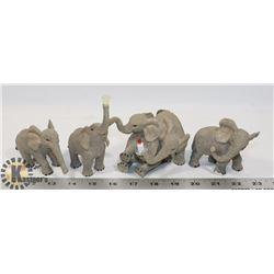 FLAT OF 4  ELEPHANT FIGURES
