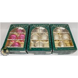 3 BOX OF NEW ACCENT CHRISTMAS ORNAMENTS