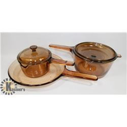 5PC CORNING VISIONWARE COOK SET.