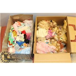 BOX OF 17 BARBIES & BARBIE ACCESSORIES INCL