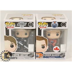 LOT OF 2 FUNKO POP HOCKEY CONNOR MCDAVID & WAYNE