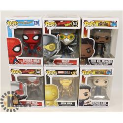 LOT OF 6 FUNKO POP MARVEL SPIDER MAN, ANT MAN,