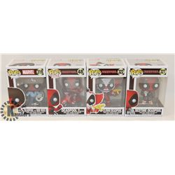 LOT OF 4 FUNKO POP MARVEL DEAD POOL CHARACTERS