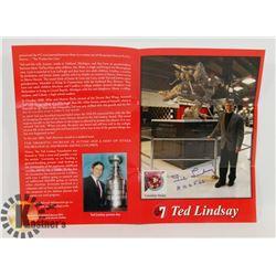 TED LINDSAY SIGNED PAMPHLET.