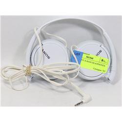 WHITE SONY X-BASS HEADPHONES.