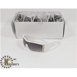 BOX OF WHITE DESIGNER SUNGLASSES WITH BLACK LENSES