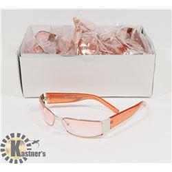 BOX OF CHROME DESIGNER SUNGLASSES WITH PINK LENSES.