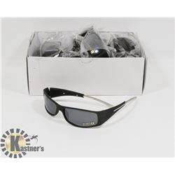 BOX OF BLACK DESIGNER SUNGLASSES WITH METAL ARMS