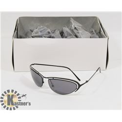 BOX OF BLACK DESIGNER METAL SUNGLASSES WITH LIGHT