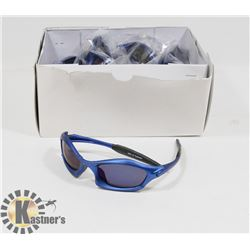 BOX OF METALLIC BLUE DESIGNER SUNGLASSES