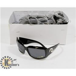 BOX OF BLACK CHANEL STYLE SUNGLASSES