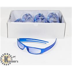 BOX OF VIBRANT METALLIC BLUE DESIGNER SUNGLASSES