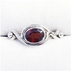 SILVER GARNET WITH JACKET RING