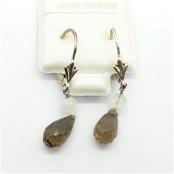 SILVER SMOKEY QUARTZ EARRINGS