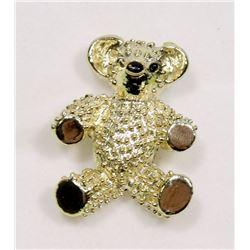 VINTAGE GOLD TONE TEDDY BEAR BROOCH