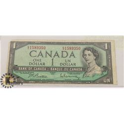 1954 CANADIAN $1 BANKNOTE.