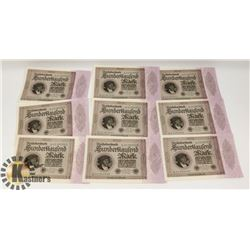1923 LOT OF 9 IN SEQUENCE GERMAN $100,000.00 MARKS