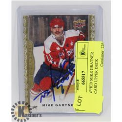 AUTOGRAPHED MIKE GRATNER HOCKEY CARD UPPER DECK