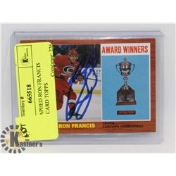 AUTOGRAPHED RON FRANCIS HOCKEY CARD TOPPS