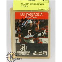 LUI PASSAGLIA KICKER/PUNTER SIGNED CARD