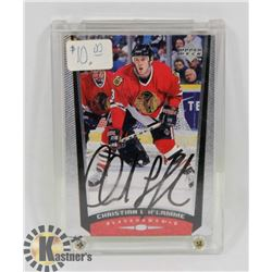 CHRISTIAN LAFLAMME CHICAGO BLACKHAWKS SIGNED CARD.