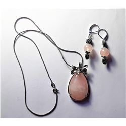 22)  ROSE QUARTZ TEAR DROP PENDANT