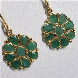 SILVER EMERALD HAND CRAFTED EARRINGS
