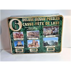 5)  LOT OF 6 DELUXE JIGSAW PUZZLES