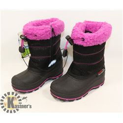 WEATHER SPIRITS GIRLS SIZE 8 WINTER BOOTS, BLACK &