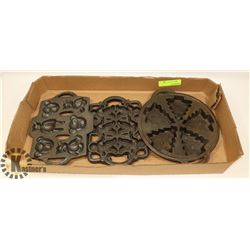 FLAT OF CAST IRON COOKIE MOLDS.