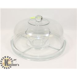 VEGGIE & DIP GLASS SERVER WITH LID.