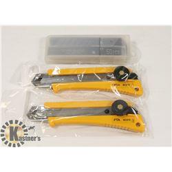 2 BOX CUTTER/OLFA KNIVES & 50 BLADES