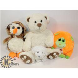 BAG OF 4 NEW KIDS STUFFED ANIMALS
