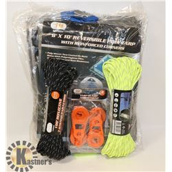 3 NEW TARPS WITH 2-100FT PARACORD &