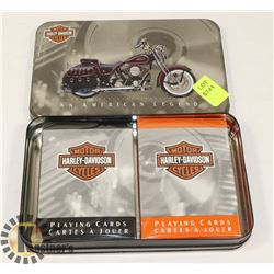 NEW HARLEY DAVIDSON 2 DECK CARD SET IN A TIN BOX