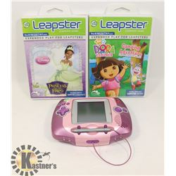 LEAPSTER HANDHELD VIDEO GAME SYSTEM W/ 2 GAMES
