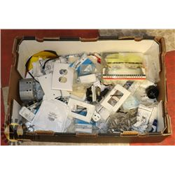 LARGE BOX OF NEW & USED ELECTRICAL ITEMS