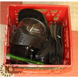 CRATE OF PAINTBALL ITEMS INCLUDING MASK, HOPPERS,
