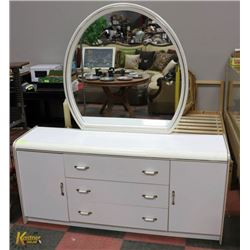 WHITE DRESSER WITH ROUND MIRROR, 3 DRAWERS 2 DOORS