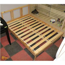 IKEA WOOD DOUBLE BED FRAME WITH SLATS.