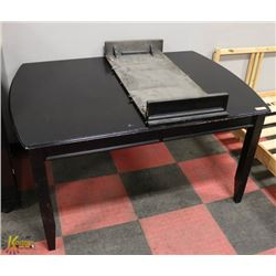 "BLACK DINING TABLE (42""X60""X30"") W/ 18"" LEAF."
