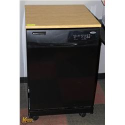BLACK WHIRLPOOL PORTABLE DISHWASHER.
