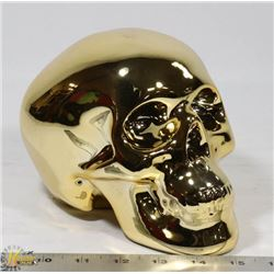 GOLD TONE SKULL PIGGY BANK