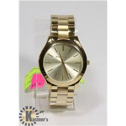MICHAEL KORS STAINLESS STEEL SHINY GOLDTONE FINISH