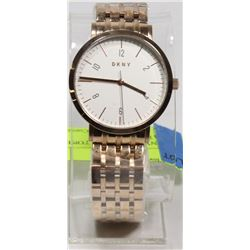 NEW DKNY ROSE GOLD TONE WHITE DIAL WATCH